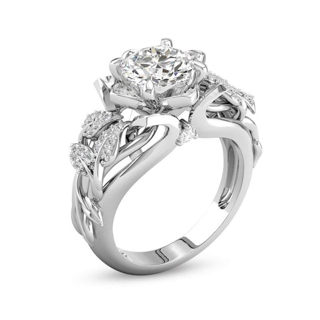 Fashion Ring, Hoshell Silver Rings Wedding Party Statement Engagement Cocktails Diamond Ring Classic Fashion (❤ 6)