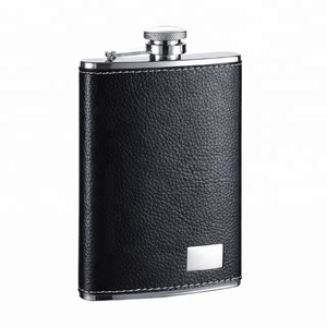 Visol Max Leather Stainless Steel Black 8oz Hip Flask