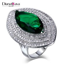 Color Stones Statement Design Crystal Luxury Wedding Party Red Blue Green Women Ring