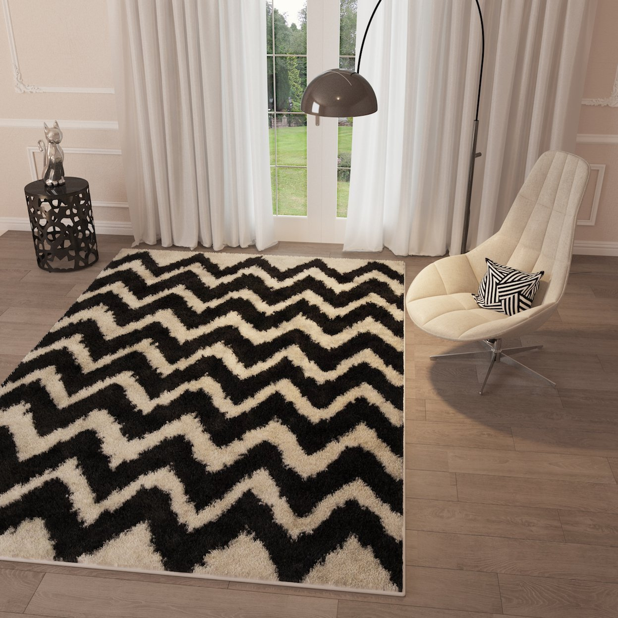caac6c1259a Get Quotations · Black Chevron Zig Zag Shag Area Rug 20   x 7 2