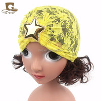Girls turban headband Princess gold star Lace Gauze Beanie Cap Photography Hat