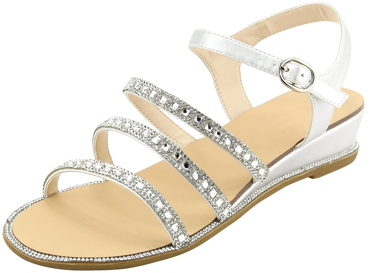 03065abc19f8df Get Quotations · Cambridge Select Women s Open Toe Strappy Buckle Ankle  Glitter Crystal Rhinestone Low Wedge Sandal