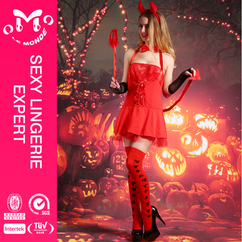 Cheap Price Hot Red Sexy Lingerie Devil Costume Party City Halloween Costumes
