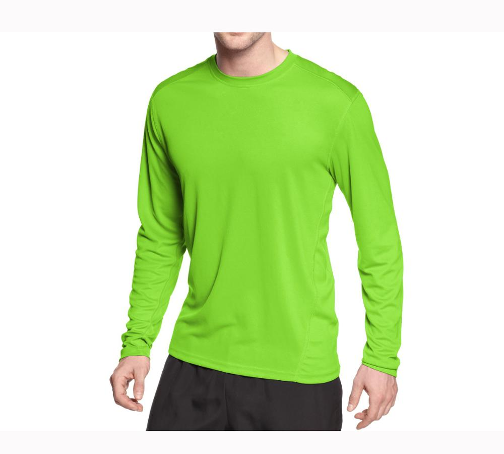 5caf0fee oem china cheap t shirts gym green long sleeve sport wear t shirts blank  dri fit 100% polyester interlock t-shirts wholesale