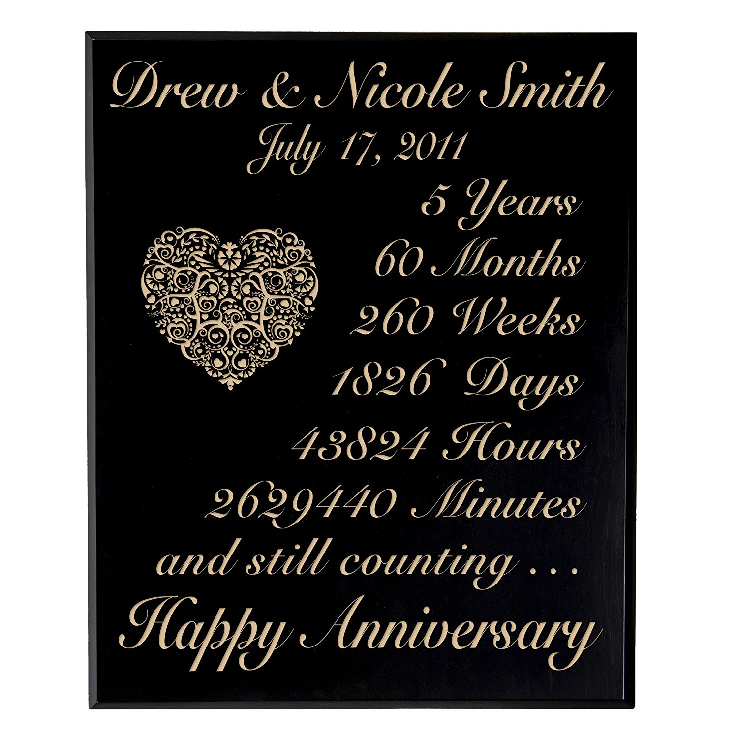 Personalized 5th Wedding Anniversary Wall Plaque Gifts for Couple,Made 5 year Anniversary gift ideas for Her, 5th Wedding Anniversary for Him By Dayspring Milestone (Black Maple Veneer Wood)