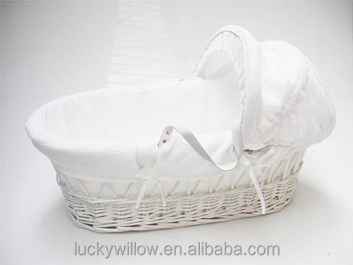 eco-friendly white baby bassinet/baby crib with mattress