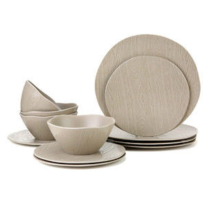 Wooden & bamboo pattern 18pcs melamine dishwasher tableware