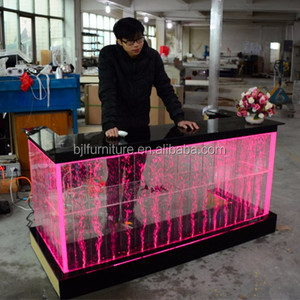 Modern night club led bar counter used light up acrylic aquarium bar table furniture for bar