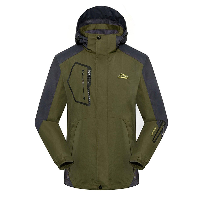 LANMWORN Men's Plus Thick Velvet Windproof Mountain Ski Snow Jacket, Winter Warm Outdoor Softshell Multi-Pocket Coat