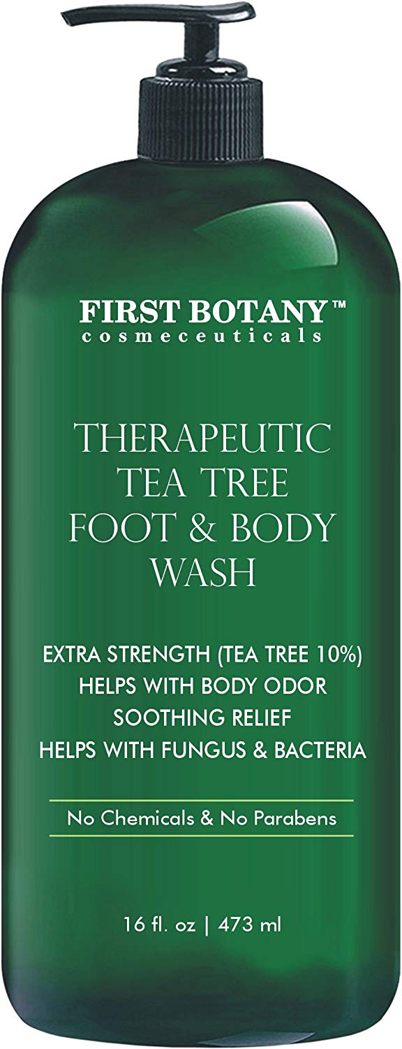 Antifungal Tea Tree Oil Body Wash - HUGE 16 OZ - 100% Pure & Natural - Extra Strength Professional Grade (Tea tree 10% conc) - Helps Soothe Toenail Fungus, Athlete Foot, Body Itch, Jock Itch & Eczema