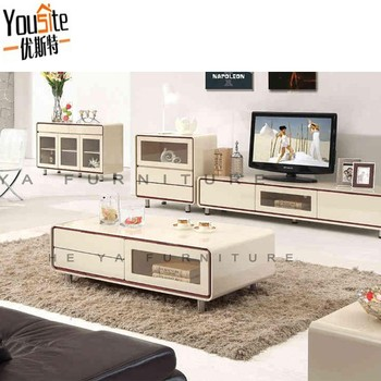 Cream Color High Glossy Turkish Furniture Coffee Table With Glass Top Design