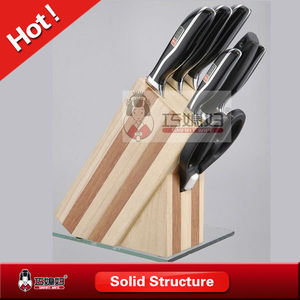 Wood knife block 8pcs stainless steel knife set