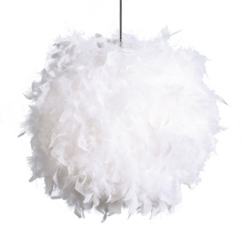 Modern design home decoration black white feather round ball chandelier lampshade