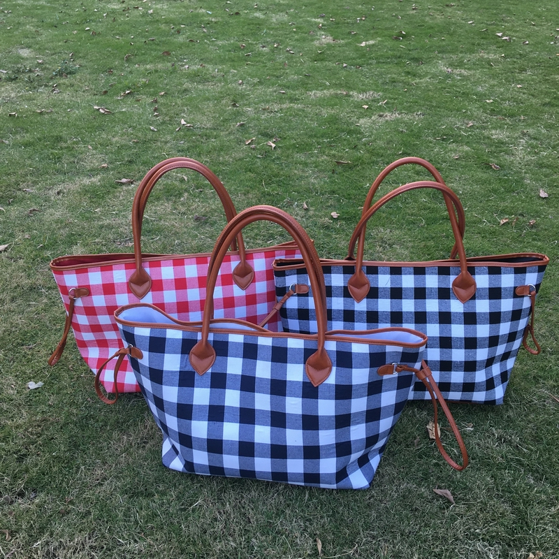 New Red and Black Check Xmas Canvas <strong>Tote</strong> , Free Shipping Xmas <strong>Totes</strong> With Lined Leather Trimmed Handles And Bottom