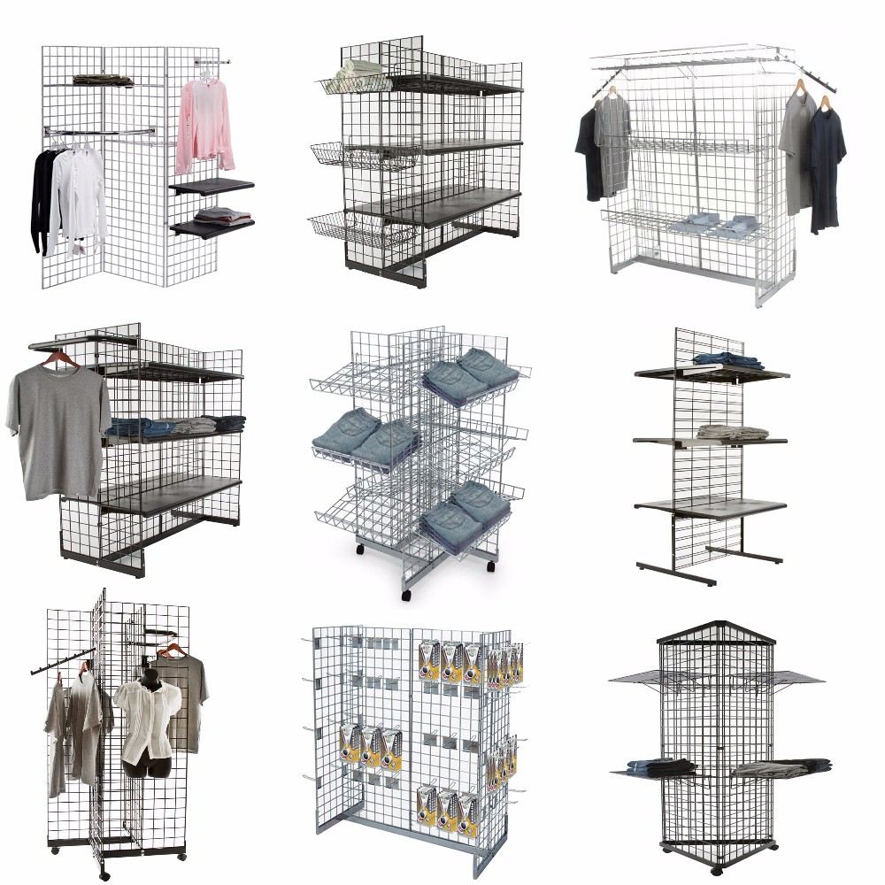 Store Fixtures 4-way Rolling Display Stand Grid Wall Panel - Buy ...