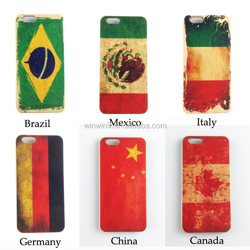 National flag design wooden mobile phone case for iPhone, printing cell phone back cover for i Phone 8