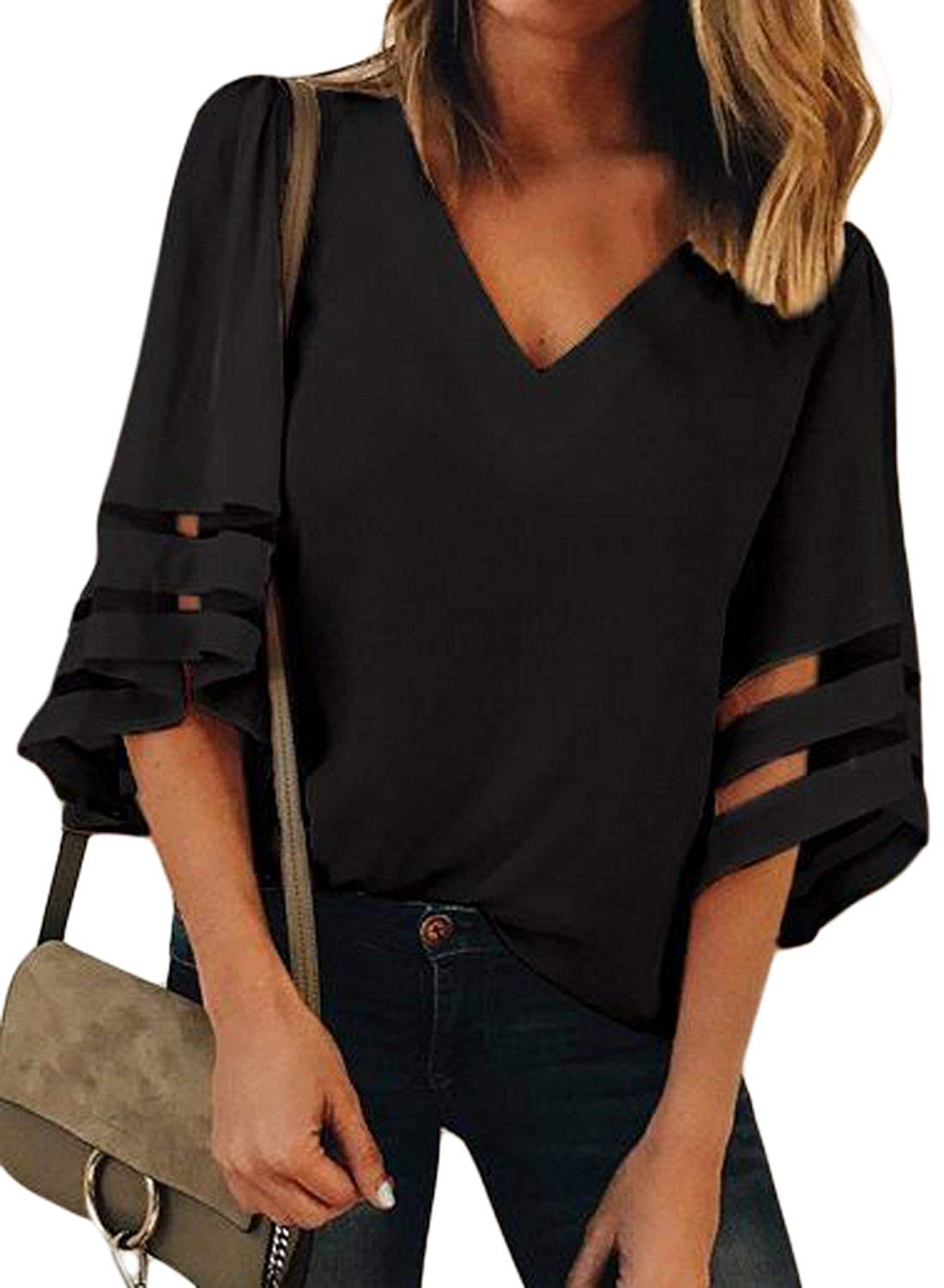 Charlotte Womens 3/4 Bell Sleeve V Neck Lace Patchwork Blouse Casual Loose Shirt Tops Flare Sleeve Tops Bouse (L, Black)
