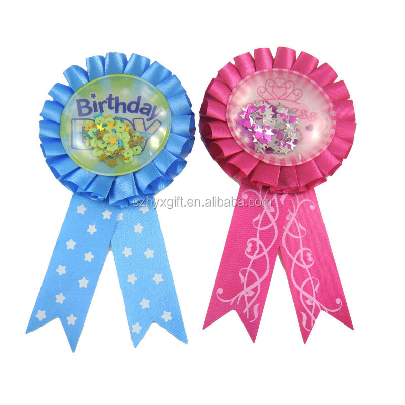 PVC Bag Top Quality Manufactory Award Ribbon Rosette With Customized Logo For Birthday