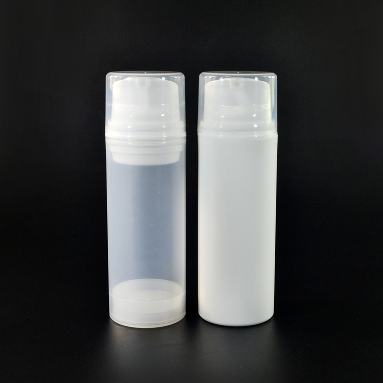 Eco-friendly new desgin cosmetic 100ml white transparent plastic pump spray airless bottle