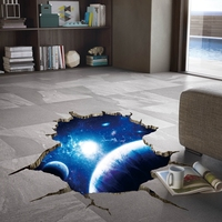 Planets Space Clouds Sun Porthole Window Milky Way 3d Wall Stickers