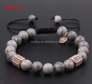 Custom logo gem stone grey jasper bead black diamond tube macrame bracelet