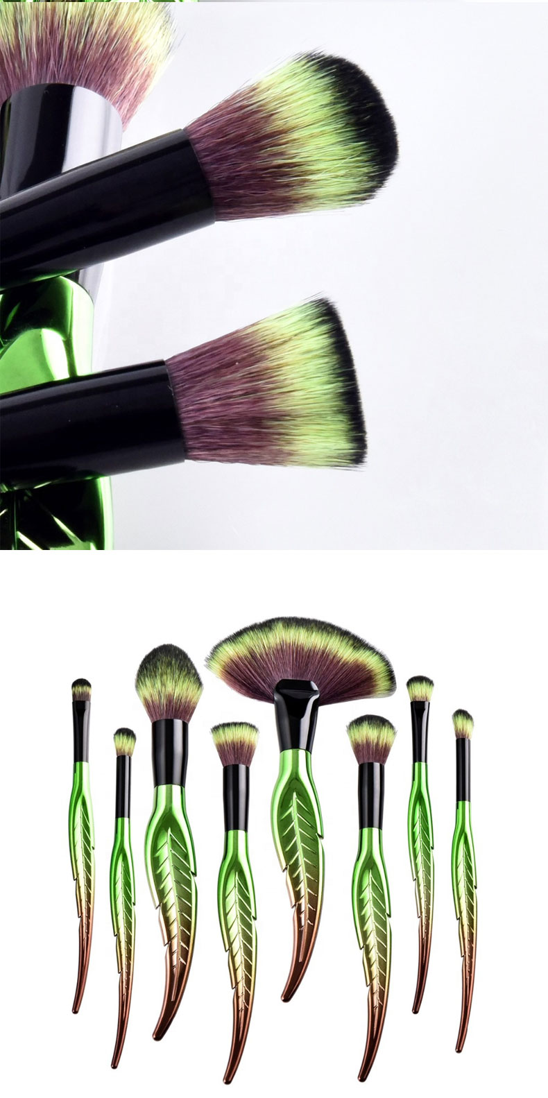 2019 New Products Custom Logo Leaf Shape Green Color Makeup Brush Set Wholesale