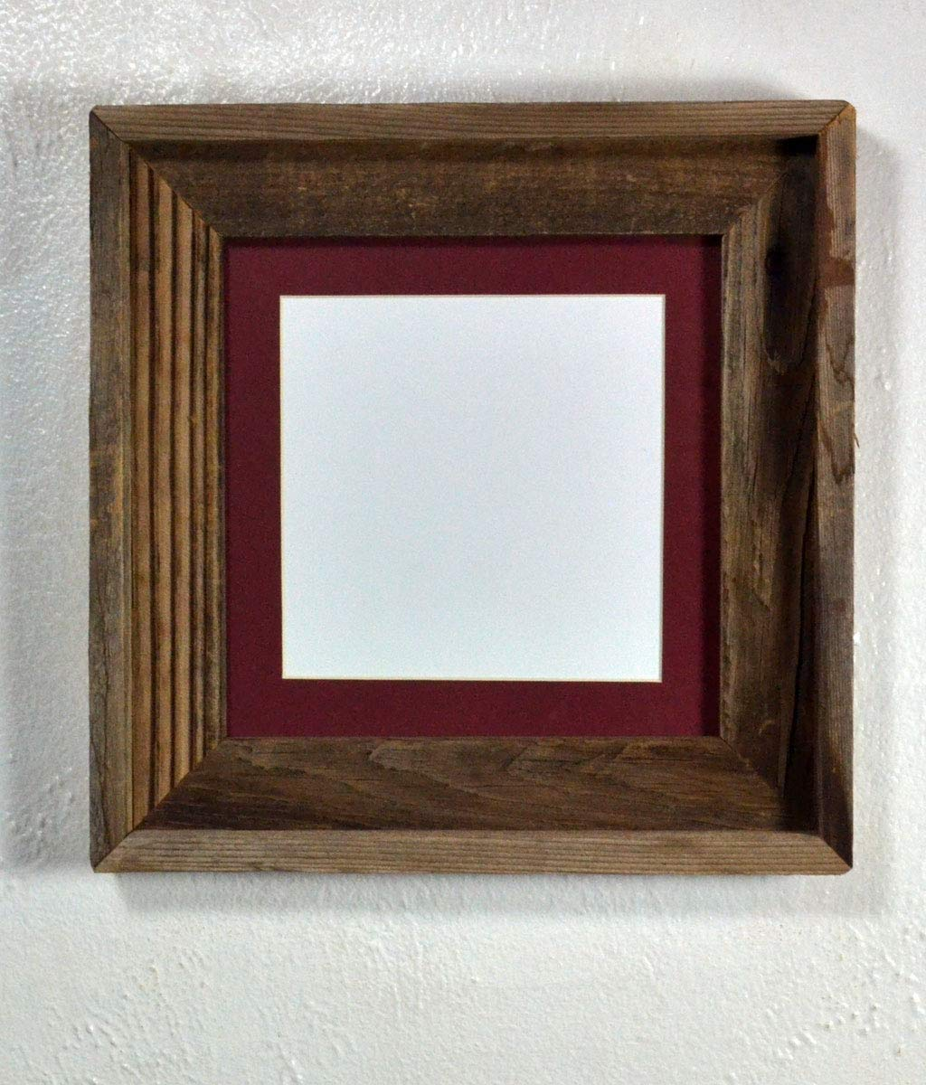 """Picture Frame 6x6 Maroon Mat Repurposed Wood Rustic Style Complete With Glass 8""""x8"""" Without Mat"""