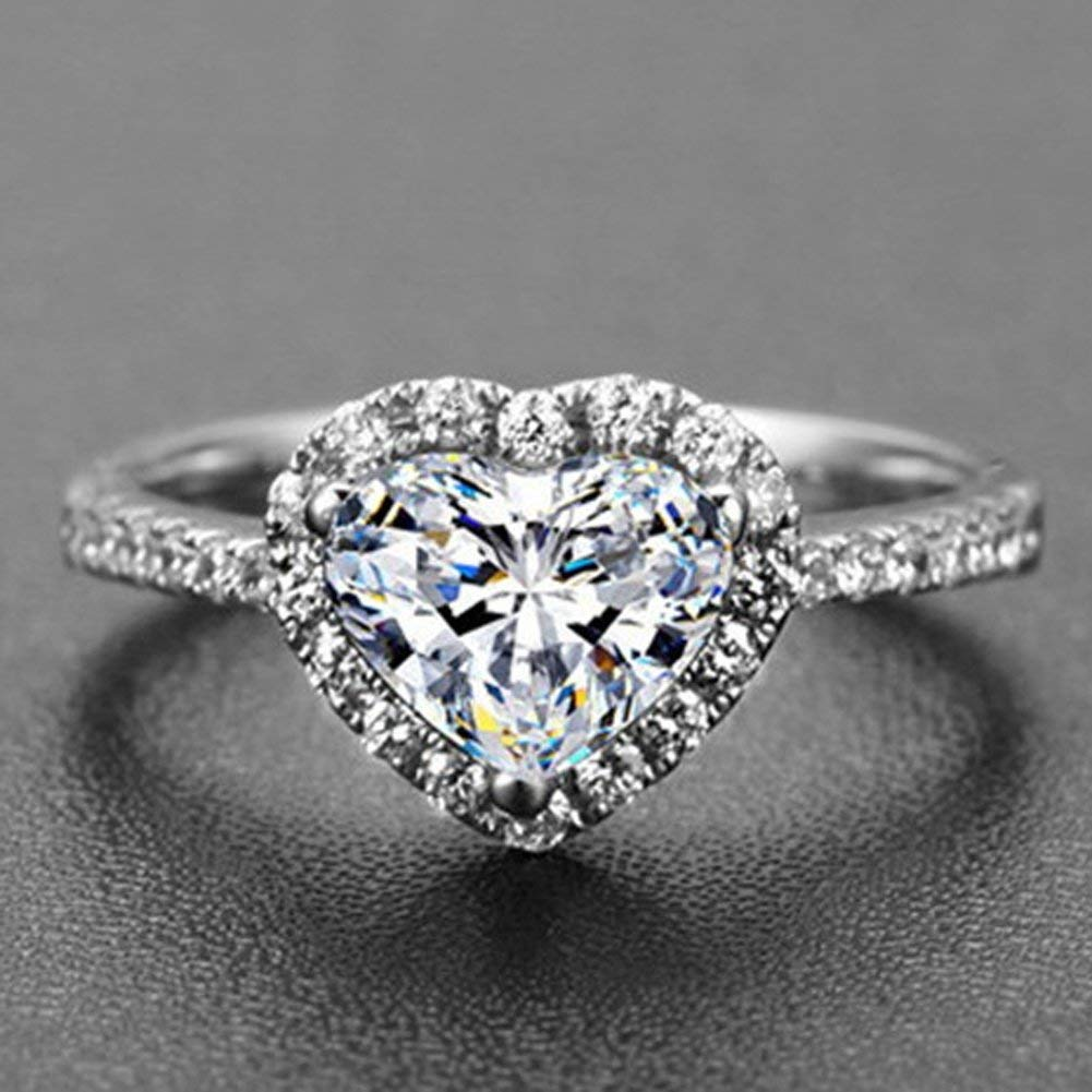 maket Japan and South Korea Trend Personality 925 Sterling Silver Fine Love Diamond Heart-shaped Jewelry Female Ring