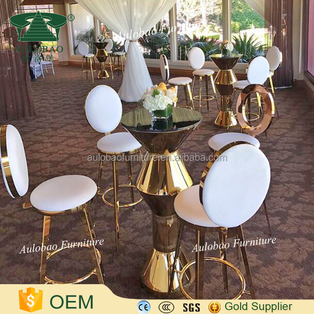 Commercial Glass Top Nightclub Bar Table Set