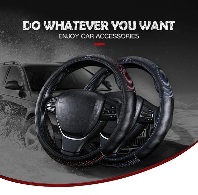 Anti-Slip Protector Leather With Wooden Car Steering Wheel Cover
