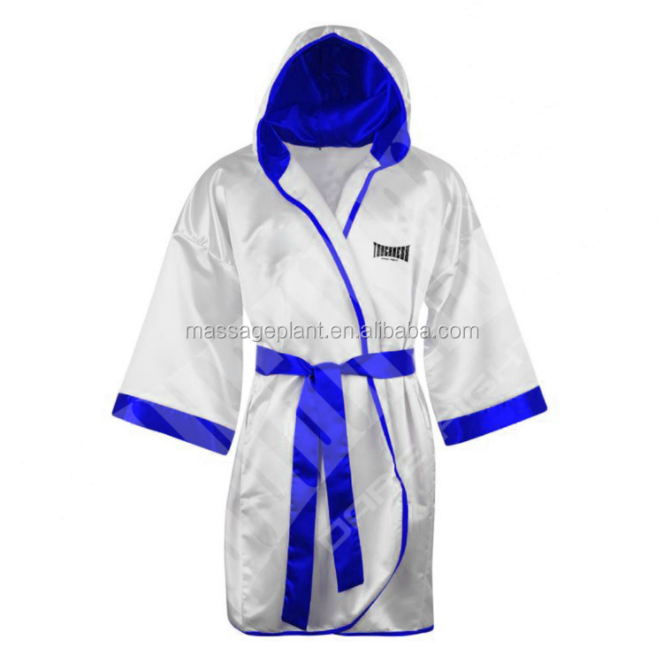 Personalised Boxing Robes: Custom Made Satin Embroidered Boxing Robe With Hood