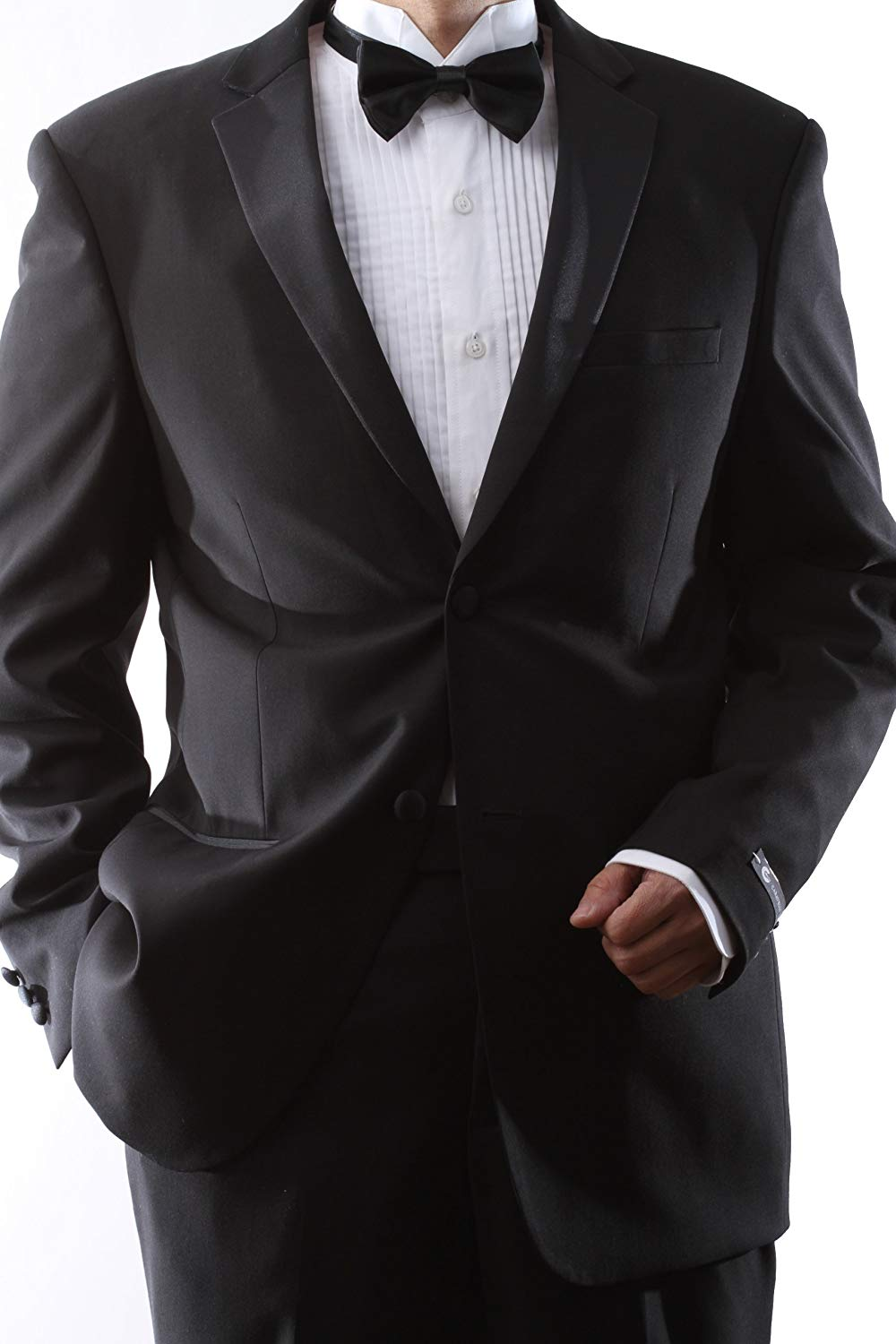 80a827d501d Get Quotations · Caravelli Men's Single Breasted 2 Button Black Extra Fine Slim  Fit Tuxedo