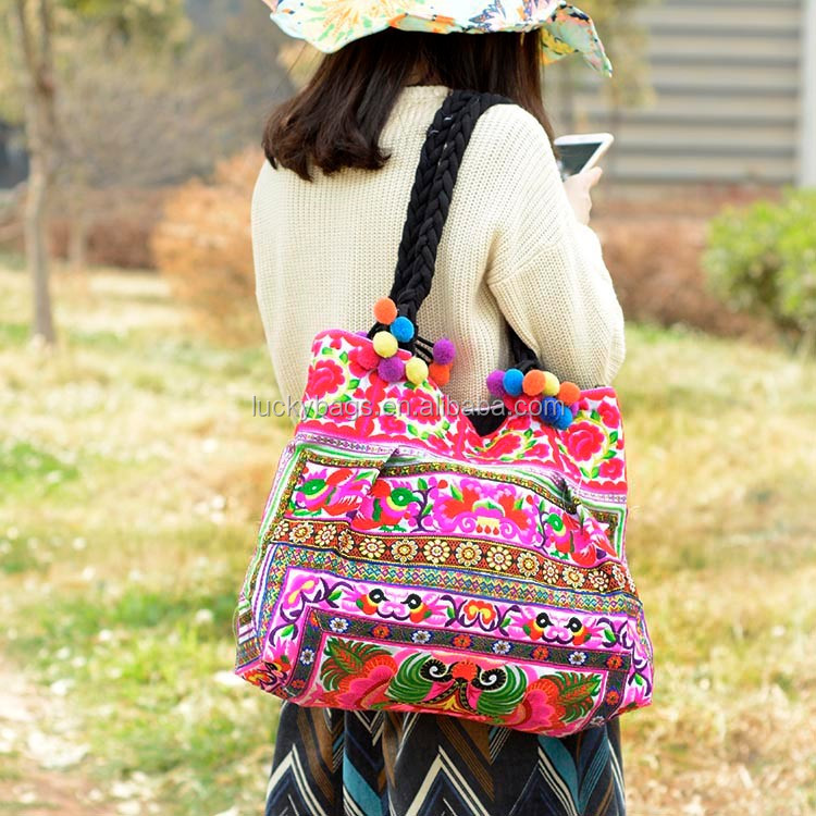 Top quality embroidered shoulder bag vietnam embroidery