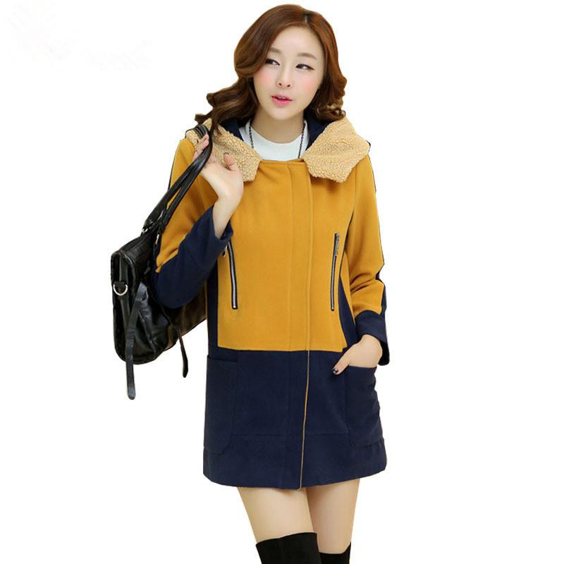 e7f18308d40f7 2015 Autumn Winter Women Fashion Hooded Long Wool Coat Ladies Elegant Pink  Yellow Red Patchwork Slim Coat Sobretudo Feminino 765