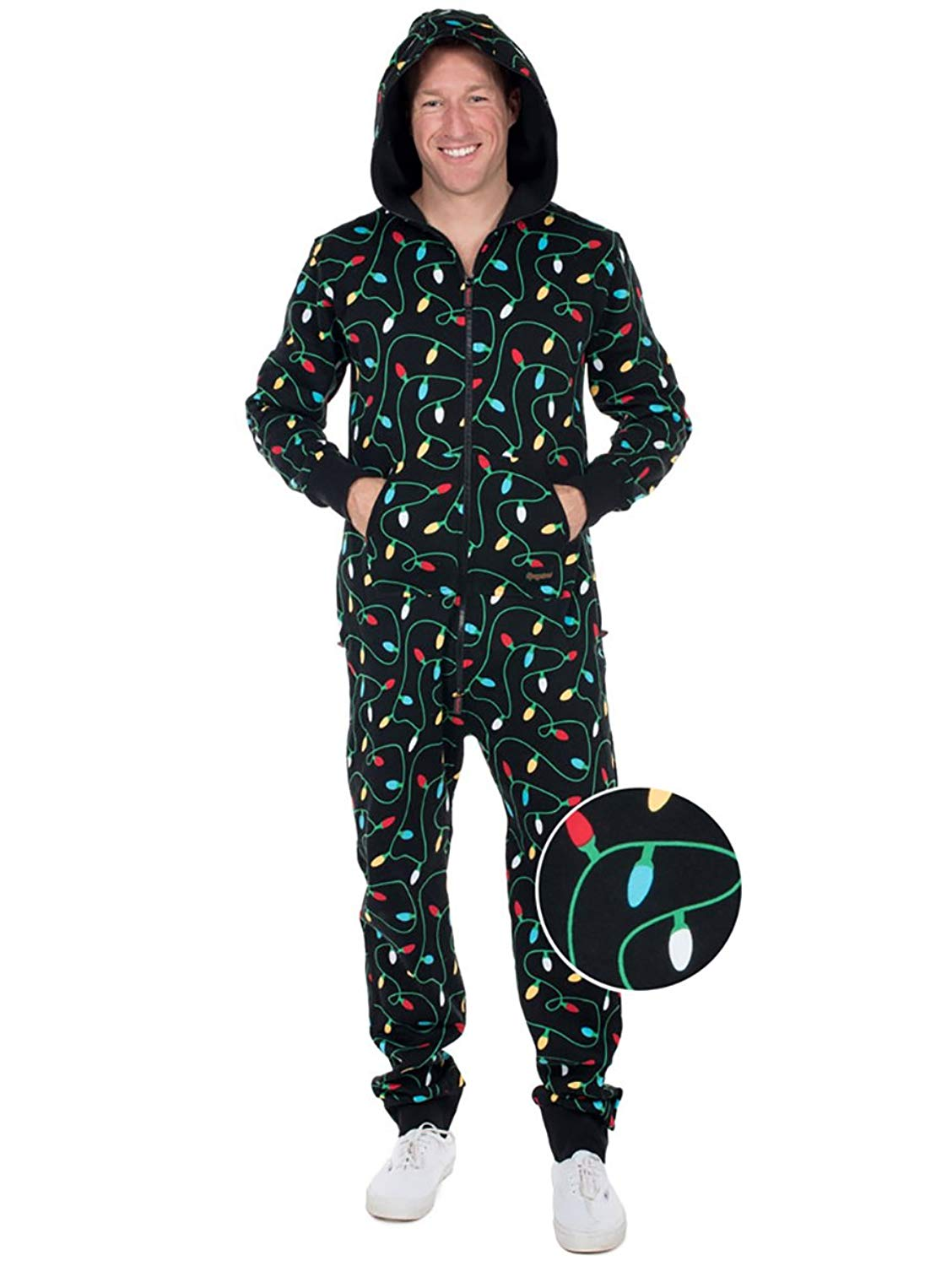 Get Quotations · Tipsy Elves Women s and Men s Unisex Black Christmas  Lights Jumpsuit - Ugly Christmas Sweater Party Adult b45b09bcc