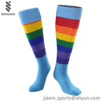 Fashion seven color rainbow stripe sports socks,Factory Custom knee high football socks
