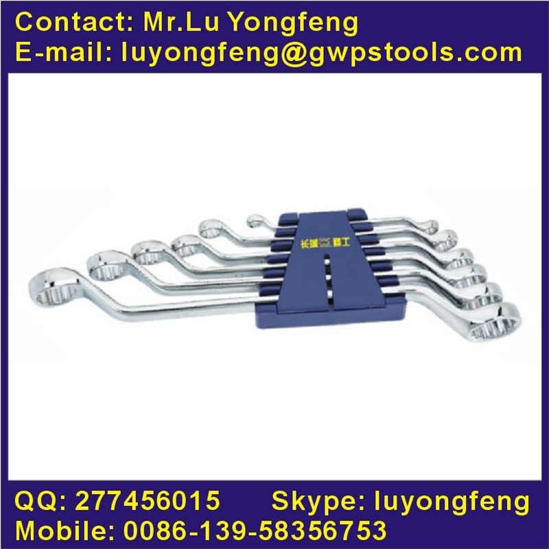 Finely polished double offset ring spanner set