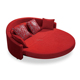 Simple design fabric / leather round sofa bed with red color LS820