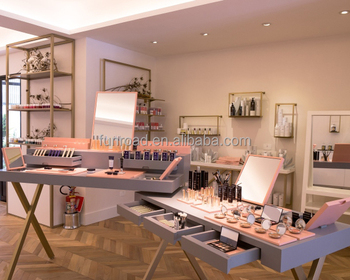 Cosmetic Interior Decoration Design With Makeup Studio Mirror Station And Display Shelving