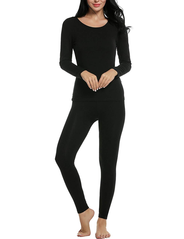ICCUN Fleece Thermal Underwear Womens Thermal Underwear Set Womens Thermal Underwear Sets
