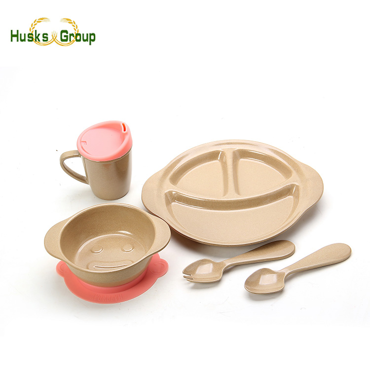 Kids Biodegradable Wholesale Rice Husk, Bamboo Fibre Tableware