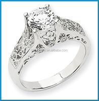 Newest 14k white gold high polished AA diamond semi-mount ring