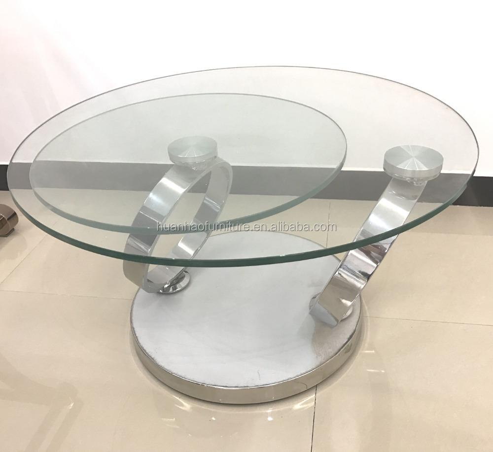 Salontafel Glas Draaibaar.Wholesale Unieke Ontwerp Draaibare Ronde Vorm Glazen Boven Metalen Frame Salontafel