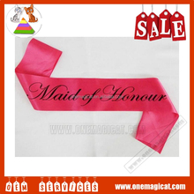 2016 Hot Sale satin sashs best quality satin sash hen's party supply items
