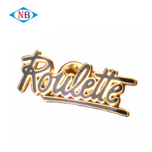 High quality gold plated letter badge custom enamel pin