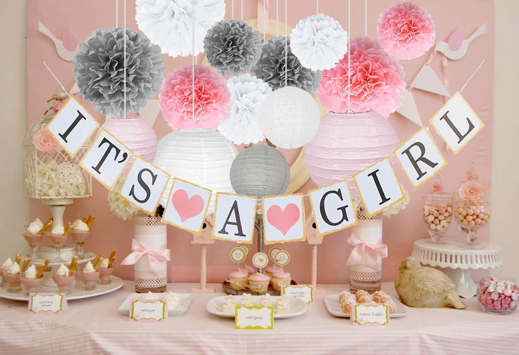 Baby Shower Decorations for Girl Kit Set Of Pink, White & Grey Gender Reveal Party Supplies – It's A Girl Banner, Tissue Flower Pom Poms, Paper Lanterns & String For Easy Installation By Evogue Decor