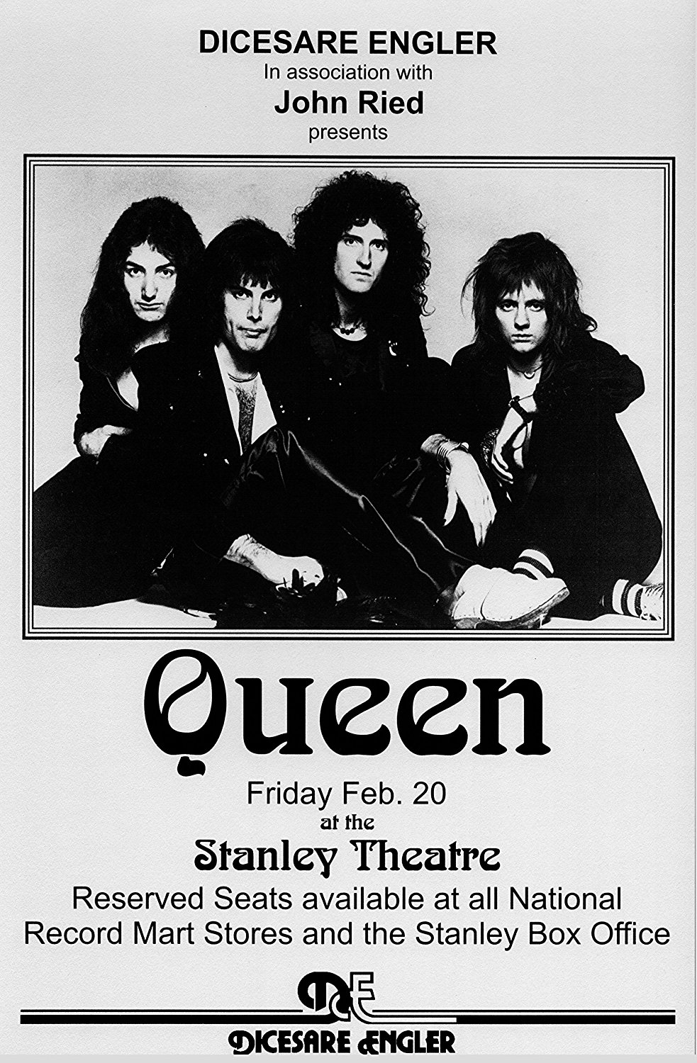 Queen A Night at the Opera Retro Art Print — Poster Size — Print of Retro Concert Poster — Features Freddy Mercury, Brian May, Roger Taylor and John Deacon.