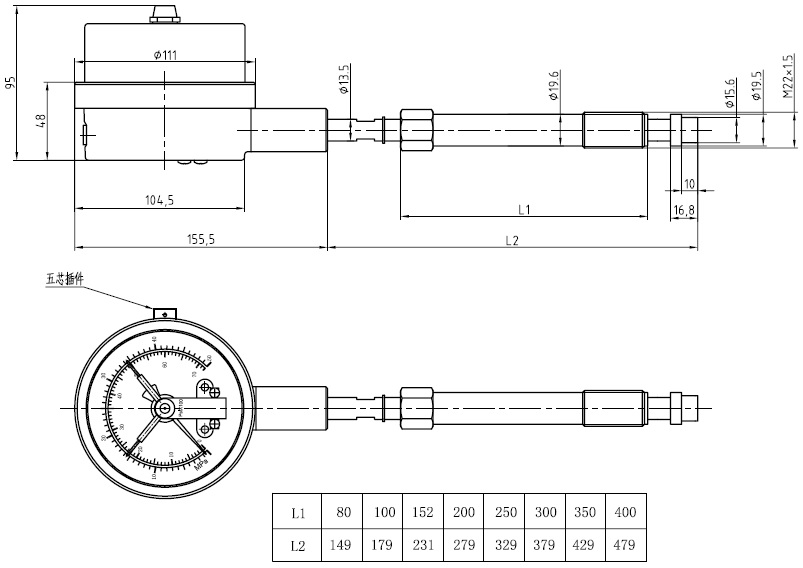 Magnetic electric contact pressure gauge