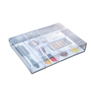 Custom case homeware clear divided ps plastic organizer cosmetic makeup storage display box with dividers