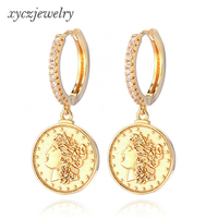 Fashion drop hoop earrings gold color coin charm mary earrings female jewelry for party